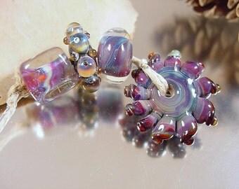Handmade lampwork glass beads, Artisan glass beads, blue beads, red beads, purple beads, sundial bead, mixed lot bead set, SRA lampwork