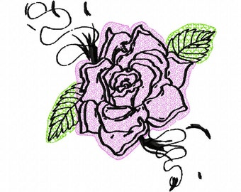 floral tattoo outline machine embroidery design 3043 by letzrock. Black Bedroom Furniture Sets. Home Design Ideas