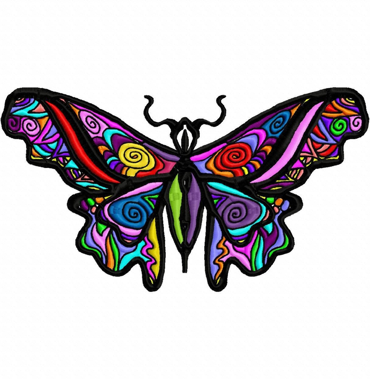 Rainbow Tattoo Butterfly Machine Embroidery Design...3044