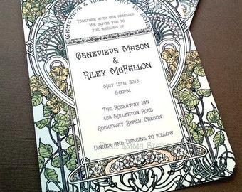 Gatsby Garden Wedding Invitation - Art Nouveau, Art Deco - Invitation Sets, Art Nouveau Wedding - Vintage Invitation - Sample or Deposit