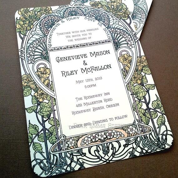 Gatsby Garden Wedding Invitation Art Nouveau Art Deco