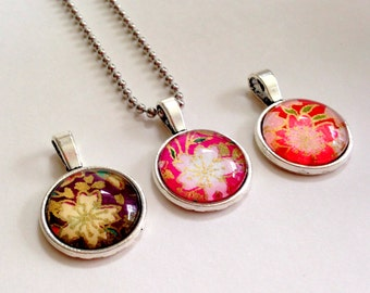"""NEW - 18mm Glass Cabochon Pendant - lightweight - Colorful Floral design  -18"""" Ball chain OR 24"""" Ball Chain"""