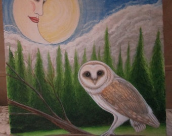 Original Whimsical Fantasy Art Painting Barn Owl & Man in the Moon
