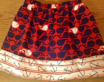 Mismatched Masterpiece ANCHOR'S AWAY super fun skirt Girls Size 6/7 ready to ship One of A KInd