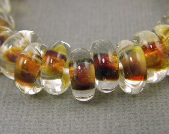 Amber Brown Borosilicate Glass Beads Color Lined Rondell Boro Beads |BR1-2|8
