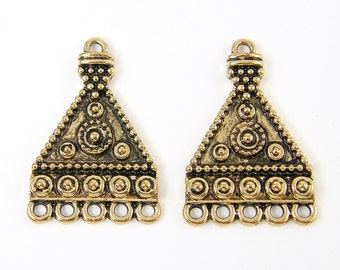 Antique Gold Earring Findings Tribal Triange Geometric Granulated Connector Jewelry Supply  G8-2 2