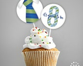 INSTANT DOWNLOAD - LDS Baptism Decoration - Cupcake Toppers or Stickers - It's Great to be Eight - Green and Blue Plaid Set