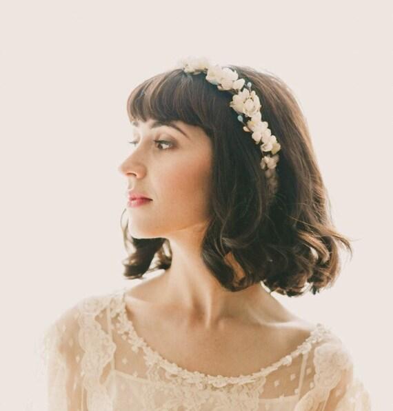 Cherry blossom flower crown, White floral wreath, Boho wedding headpiece, Flower bridal hair accessory - ARABESQUE