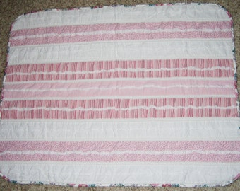 Quilted Baby Blanket Pink White