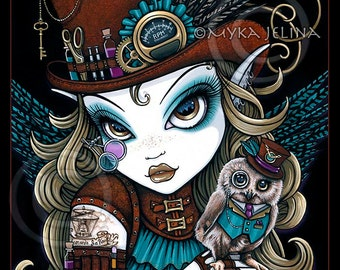 Steampunk Owl Aviatrix Fairy Art Jewels Limited Edition Canvas ACEO