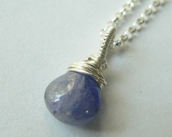 Singles ON SALE CHARM Only, 6mm, Tanzanite Charm, Wire Wrapped, Sterling Silver, December Birthstone, Tanzanite Charm