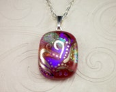 Red Dichroic Glass Pendant Hand Painted in Genuine White Gold