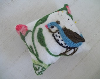 Vintage Crewel Embroidery Pincushion, Upcycled Needlecraft