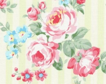 SALE Green Stripe Bouquet Roses 31264 60 by Lecien Fabrics Princess Rose Clearance