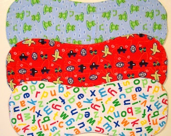 Quilted Contoured Baby Burp Cloths ~ Set of 3 ~Triple Layer ~ Flannel & Fleece ~ Baby Boy ~ Set #BC/26A