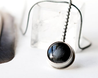 On the Dot Necklace - Sterling Silver and Magnetite Stone Necklace