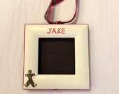 3) gingerbread men picture frame ornaments