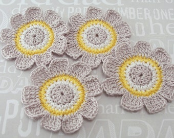 Crochet Flower Appliques|Gray White Yellow