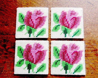 Rose Floral Coasters, Rose Beverage Coaster, Rose Drink Coaster, Mug Rugs Floral Coaster, Table Mats with Rose Design. Ready-to-Ship