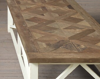 "Parquet X Driftwood Coffee Table (50"" x 20"" x 18"" H)"