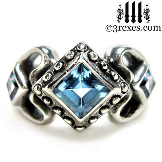 Princess Love Engagement Ring Gothic Silver Wedding Band Blue Topaz Size 8