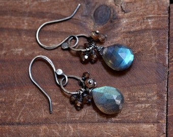 Blue Flash Labradorite Drop Earrings - Rustic Oxidized Silver Link Earrings - Pink Brown Andalusite Earrings - Dreamy Earrings