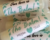 Wedding Favors, 100 Our Love is the Balm Lip Balm Favors, Bridal Party Favors,  Chevron Personalized Labels