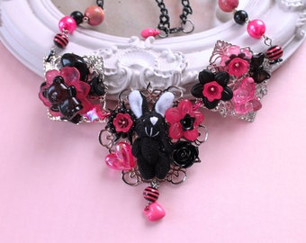 Kawaii black bunny rabbit Necklace  pink Lolita fairy kei decoden OOAK