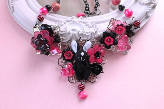 Kawaii black bunny rabbit Necklace  pink Lolita fairy kei decoden OOAK