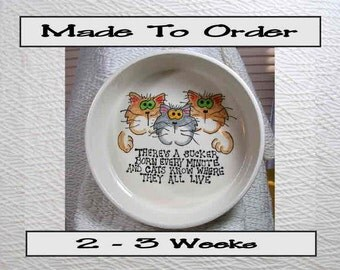 Large Clay Bowl With Goofy Cats & Verse Inside and Paw Prints Around The Outside