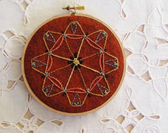 hand embroidery hoop, southwest indian motif wall decor, wall hanging with southwestern design