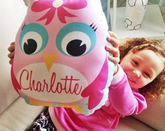 Pink Owl Personalised Cushion