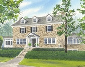 Custom 9x12 Home/House Watercolor Painting-FREE SHIPPING
