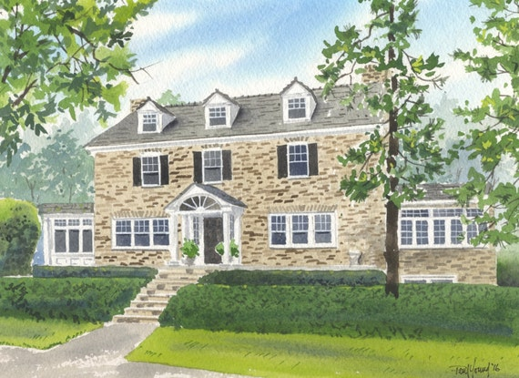 Custom 9x12 Home/House Watercolor Painting-FREE SHIPPING-Not Available For Christmas Delivery