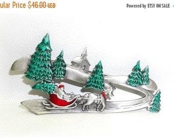 JJ Santa Sleigh Horse Christmas Trees pin brooch pewter J.J Rare Xmas