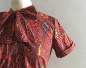 Paisley print blouse / short sleeve button up bow tie blouse