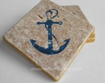 Navy blue anchor nautical stone tile coaster set of 4