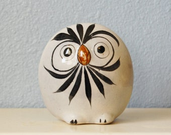 1970s Vintage Art Pottery Owl Mexico Folk Home Decor Boho