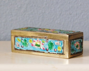 Vintage 1930s Enamel Brass Stamp Box Chinese Water Lilies