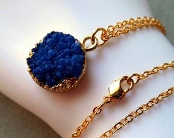 Blue Druzy Necklace, cobalt blue, sapphire blue druzy, azure navy, gold plated gold edged stone pendant charm quartz raw stone drusy crystal