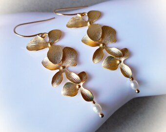 Long earrings orchid flowers pearl and gold dangle drop earrings nature inspired women bridesmaids gift plated wedding bridal luxe baroque