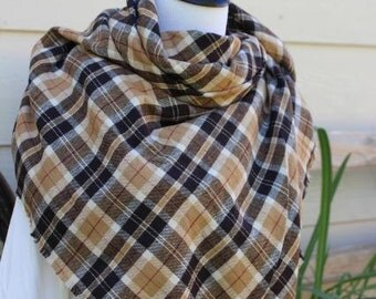 Brown Tan Plaid Blanket Scarf Zara Inspired