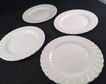 Set of 4 Vintage 1950's Era Johnson Brothers White Ironstone China Swirl Dessert Plates