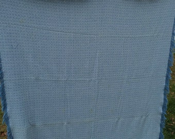 Vintage Blue and White Woven Reversible Tablecloth with Fringe