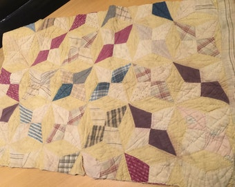 Vintage Well Loved Hand Quilted Four Pointed Star Cutter Quilt Piece