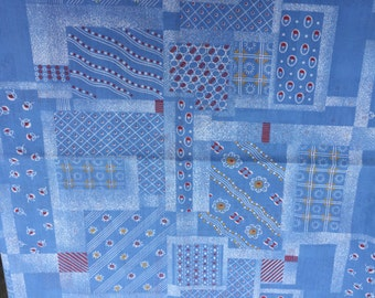 1 1/3 Yards of Vintage Blue with Flowers and Geometric Print Cotton Blend Fabric