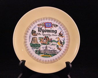 Vintage Wyoming Souvenir State Plate with Yellow and Gold Trim