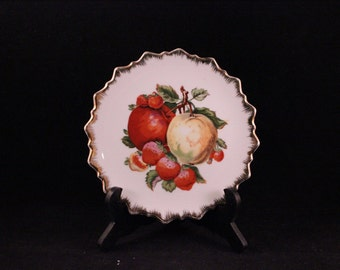 Vintage Decorative Plate with Fruit Print and Gold Trim