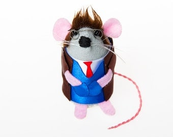 Doctor Who David Tennant Mouse ornament felt artisan rat hamster mice cute gift for doctor who fan or dr who collector