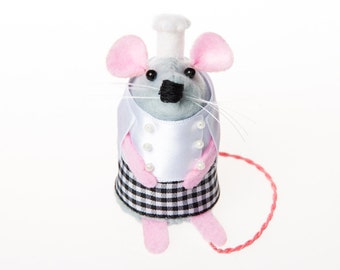 Chef Mouse - collectable art rat artists mice felt mouse cute soft sculpture toy stuffed plush doll gift for chef mum dad wife husband mom